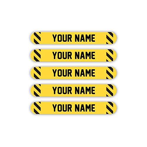 100 Mini Personalized Waterproof Custom Name Tag Labels (Caution Tape Theme) - Multipurpose Marking for All Ages - Camping Gear, Luggage, Kindergarten