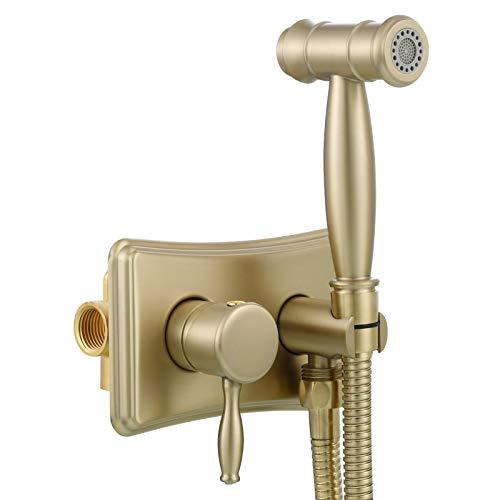 Tecmolog Ducha Bidet Oro Cepillado 2 Modos Shattaf Pulverizador Rociador Bidet Agua Caliente y Fria para WC, WS035JF