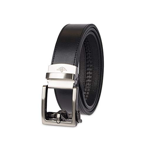 Dockers Men's 1.3 in. Wide Perfect Adjustable Click to Fit Belt, black square, Medium (34-36)