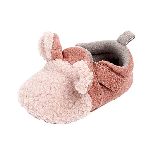Suelo suave, zapatos para niños, 20 unidades, zapatos para aprender a andar, zapatos de bebé de felpa, antideslizantes, para interiores, con dibujos animados, animales, cómodos, cálidos, Rosa., 22
