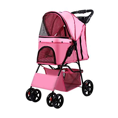 GWXTC Faltbarer Bollerwagen Beweglicher Hundekatzen-Klappwagen Haustier im Freien, 4 Räder, die Speicher-Laufkatzen-Wagen ausgehen, L45 * W70 * H100CM (Color : Pink)