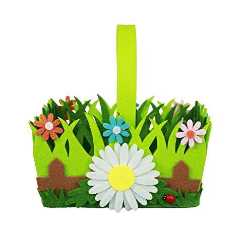 HAAC - Cesta Decorativa de Fieltro (19 x 16,5 x 10 cm), diseño de Nido de Pascua con Flores