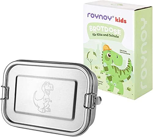 roynoy | Edelstahl Brotdose Kinder Dino | wasserdicht | mit Trennwand | Bento Box Kinder | Frühstücksbox | für Kindergarten Kita Schule
