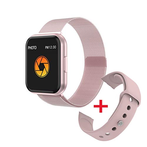 YDL T88 Smart Watch Hombres Mujeres Detección De Ritmo Cardíaco Pedómetro Deportivo Pantalla Táctil Completa Bluetooth Smartwatch para iPhone Huawei Teléfono (Color : Pin Steel A Pink SIL)