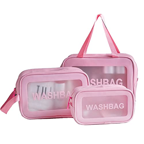 Bolsas de Cosméticos, 3 Pcs Transparente Bolsa de Viaje Impermeable, Bolsas Portátil de Maquillaje de PVC, Neceser con Cremallera Estuche Organizador de Belleza para Vacaciones