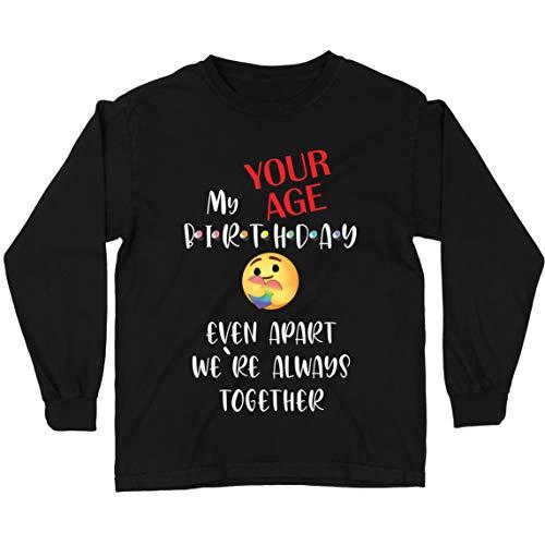 lepni.me Camiseta para Niños Cuarentena Personalizada de Feliz Cumpleaños, Incluso Separados Estamos Juntos (12-13 Years Negro Multicolor)