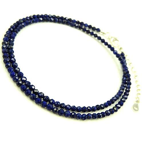 ラピスラズリ 雅びやか ネックレス 多面 3mm数珠 天然石 健康の石 男女兼用 パワーストーン 手作り調整可能 シルバー925