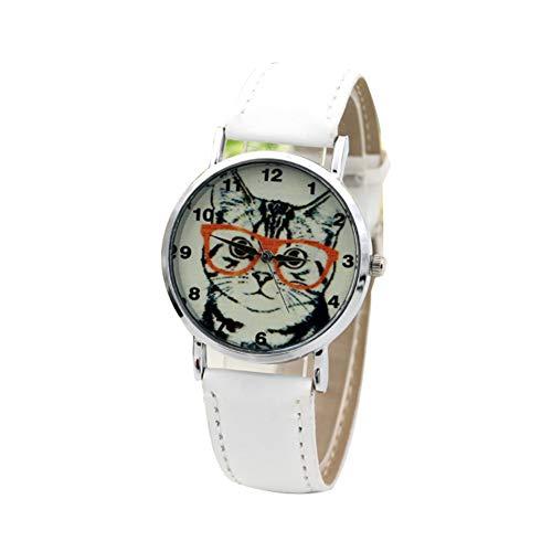 TrifyCore Relojes de Mujer con Linda Cara de Gato Reloj de Vestido Estampado Banda de Cuero Artificial Gato de Dibujos Animados Gafas Reloj analógico de Cuarzo de Pulsera Reloj Color de Blanco