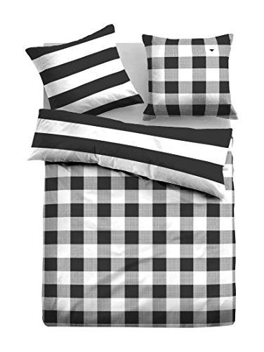 TOM TAILOR 0069838 Satin Bettwäsche Garnitur mit Kopfkissenbezug (Baumwolle) 1x 135x200 cm + 1x 80x80 cm, schwarz