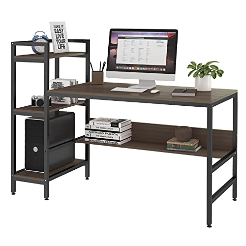 Dripex Computer Desk with 4 Tier Storage Shelves - 41.7'' Student Study...