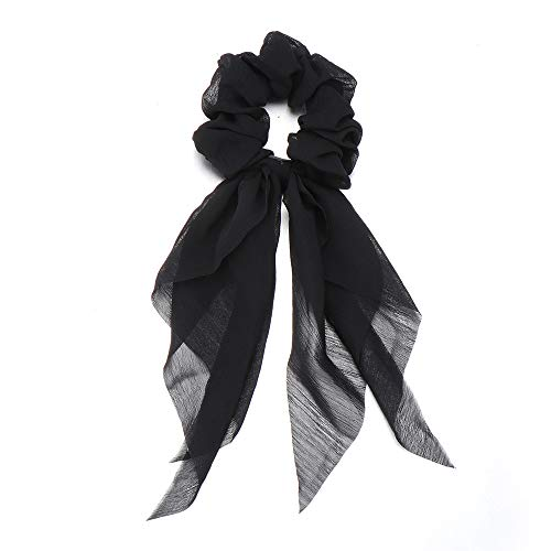 Msicoco Vrouwen Chiffon Boog Streamer Paardenstaart Sjaal Elastische Haarband Scrunchies Haarbanden Eén maat Zwart