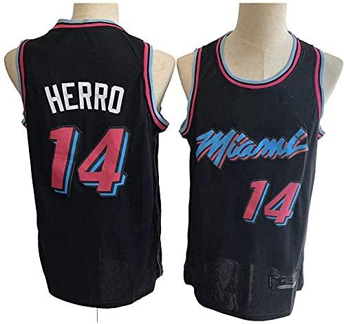 XUECHEN Ropa Jerseys de Baloncesto de los Hombres, Miami Heat # 14 Tyler Herro NBA Verano Chalecos sin Mangas Camisetas Retro Baloncesto Uniformes Tops Sueltos de Deportes, Negro, M (170~175 cm)