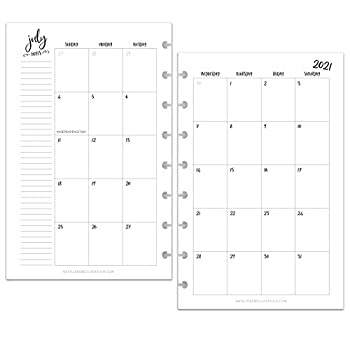 BetterNote July 2021 - June 2022 Academic Monthly Calendar for Disc-Bound Planners Fits 8-Disc Levenger Circa Junior Arc Half Letter Size 5.5 x8.5  Whimsy  Notebook not included