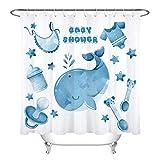 taquxinlaowan Dibujos Animados Baby Shower Dolphin Impermeable Tela Cortina de Ducha Set baño decoración