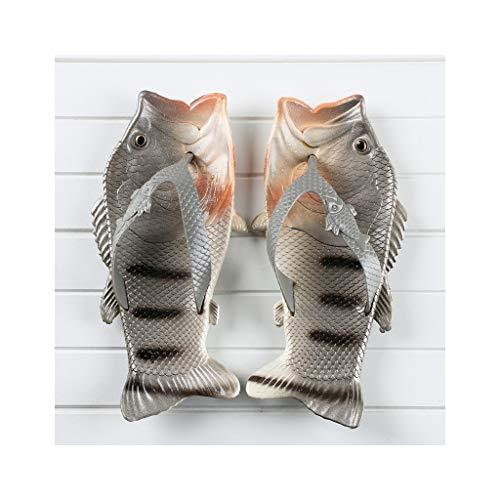 Fisch-lässige Sandalen Unisex Sandalen Fisch Flip Flops Mode Eltern-Kind-Schuhe Slippers Pool & Beach Schuhe Männer, Frauen & Kinder Einzigartige Geschenk-Idee ( Color : Gray , Size : 44-45 )