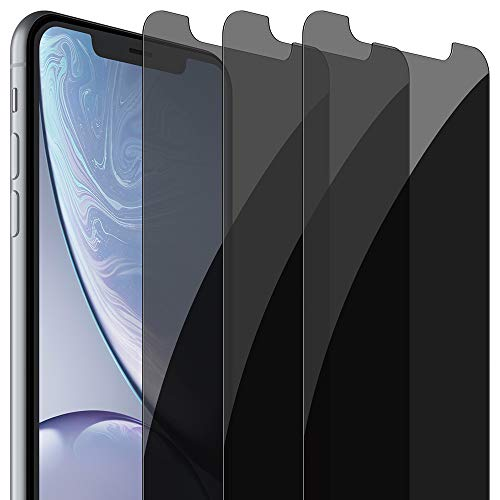 FlexGear Privacy Screen Protector for iPhone 11 / iPhone XR [New Generation] Tempered Glass (3-Pack)