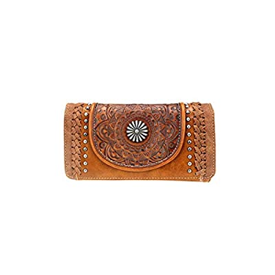 Trinity Ranch by Montana West Wallets Western Tooled Partial Leather Women's Wallet/Wristlet TR109-W018 (Brown)