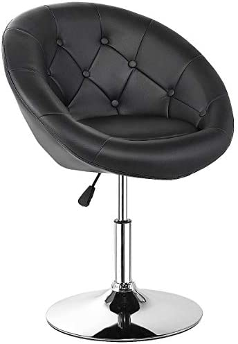 Best Costway Swivel Accent Chair, Contemporary Tufted Round-Back Tilt Chair with Chrome Frame, Height-Adj