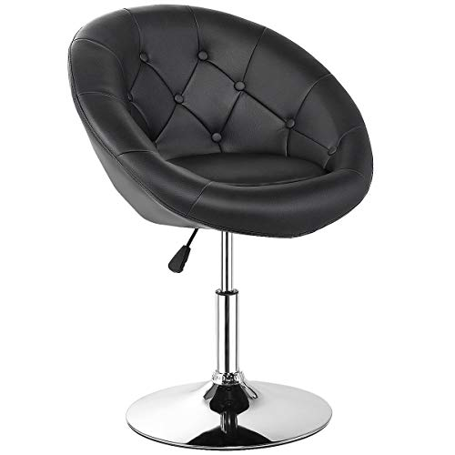 Costway Swivel Accent Chair, Contemporary Tufted Round-Back Tilt Chair with Chrome Frame, Height-Adjustable Modern for Lounge, Pub, Bar, Black