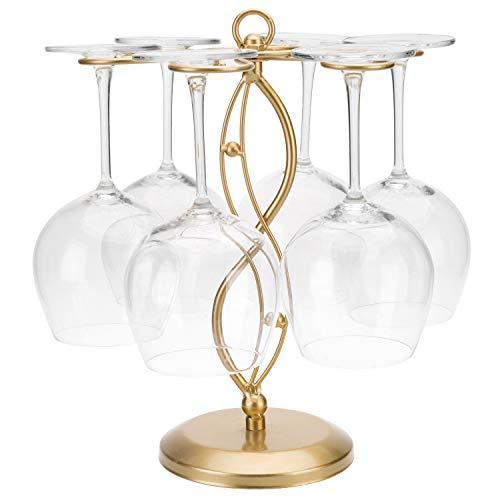 MyGift Scrollwork Gold Metal Tabletop Wine Glass Stemware Storage Rack with 6 Hooks