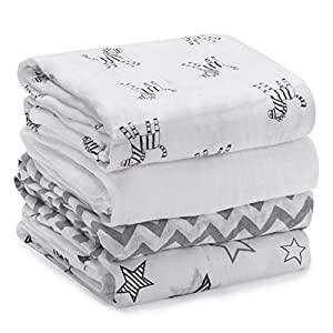 Momcozy Muslin Baby Swaddle Blankets, Large Neutral Receiving Blankets Wrap for Baby, 47 x 47 inch, 4 Pack, Soft Silky 30%Cotton + 70%Bamboo. Newborn to Toddler. (Zebras, Stars, Waves, Pure White)