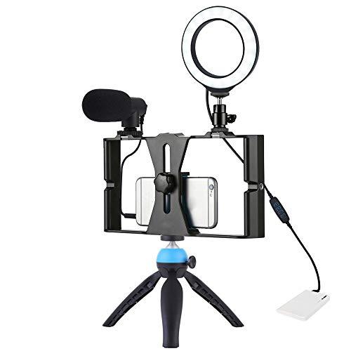 Cotify Luce Video Ad Anello a Led con Supporto per Treppiede Impianto Video per Smartphone 4 in 1 Vlogging Live Streaming con Microfono + Attacco Treppiede (3 Modalità di Illuminazione Dimmerabili)
