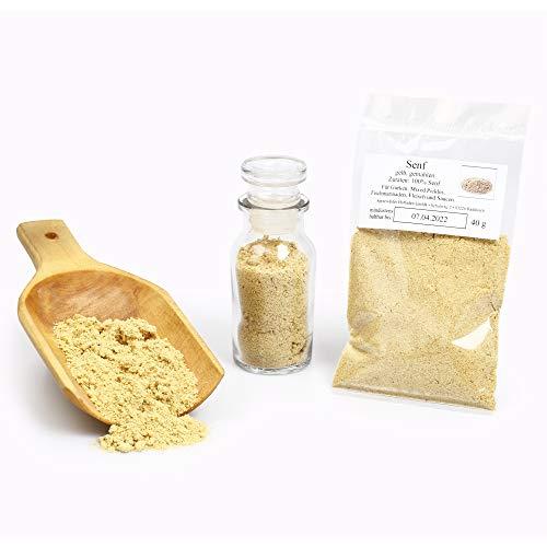 Senf gelb, Senfsaat gelb gemahlen, Senfkörner weiss, Senfpulver, gelbes Pulver, Mustard Powder, glutenfrei, 40g