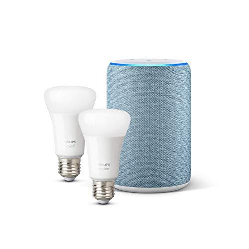 Amazon Echo (3ª generazione), Tessuto blu-grigio + Lampadine intelligenti a LED Philips Hue White, confezione da 2 lampadine, compatibili con Bluetooth e Zigbee (non è necessario un hub)