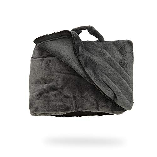 Cabeau Fold 'n Go Travel and Throw Blanket Plus Compact Case - for Home and Travel - Doubles as Lumbar Pillow and Neck Support Pillow - French Microfiber Comfort - Charcoal