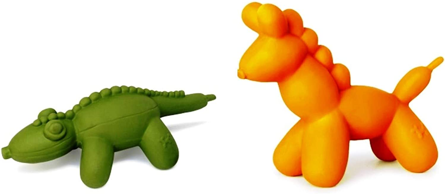 Charming Pet All Natural Soft Latex Small Strike Toy 2 Forma Variety Bundle: (1) Horse e (1) Aligator