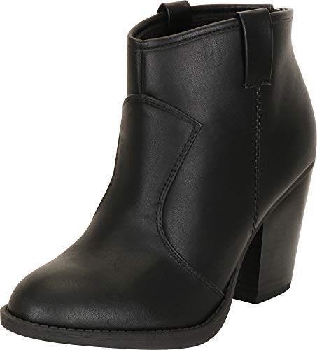 Cambridge Select Women's Country Western Stacked Chunky Heel Ankle Bootie,7.5 B(M) US,Black Pu