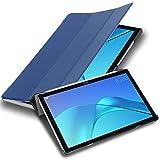 Cadorabo Funda Tableta para Huawei MediaPad M5 / M5 Pro (10.8' Zoll) in Azul Oscuro Jersey – Cubierta Proteccíon Bien Fina en Cuero Artificial en Estilo Libro con Auto Wake Up e Función de Suporte