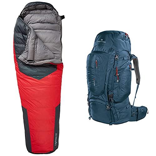 Ferrino Lightec Duvet, Sacco A Pelo Rosso E Nero, 1000 Gr & Transalp, Zaino Da Hiking Ed Escursionismo Unisex, Blu, 100 L