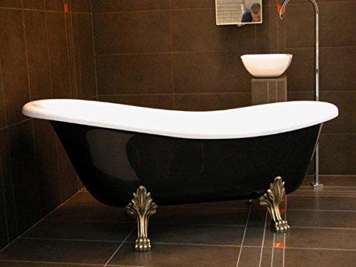 Casa Padrino Freistehende Badewanne Jugendstil Roma Schwarz/Weiß/Altgold 1470mm - Barock Antik...