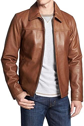 HiFacon Chaqueta de cuero para hombre de la motocicleta del bombardero del motorista marrón de cuero real