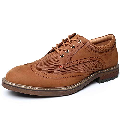 Mens Dress Shoes, Lace Up Casual Oxford Wingtip Brogue Formal Business Oxfords, Apricot 10.5