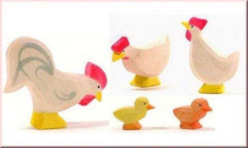 Ostheimer 13110 - Hühnergruppe weiss, 5-teilig , 5 Teile [Spielzeug]