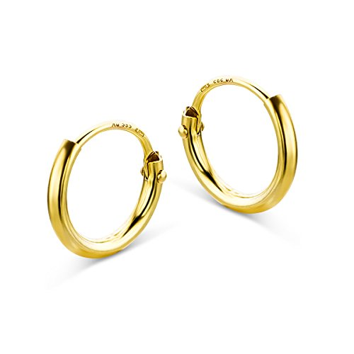 Pendientes criollos de oro amarillo para mujer de Miore, de 14 quilates (585), 1,3 mm