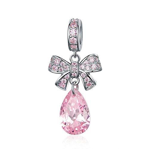 Angelazy Colgantes De para Mujer,Moda Pink Zircon Chainless Romántica Forma De Lazo Encante para Damas Accesorios Joyas Regalo De Cumpleaños Parte Accesorios