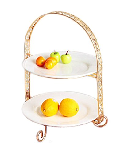 YBK Techケーキスタンド 多層 ゴージャスな金枠プレート アフタヌーンティー 皿 セット 北欧の風 (2段-A)