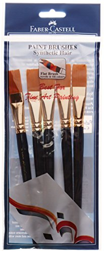[Apply coupon] Faber-Castell Paint Brush - Synth Hair Flat, Size-10 (Pack of 5)