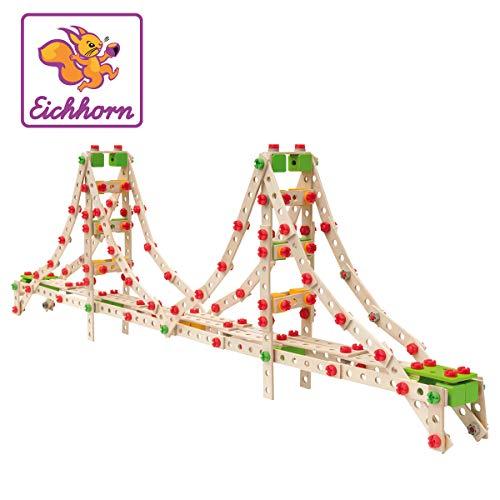 Eichhorn 100039092 Constructor Golden Gate 3 Modellvarianten möglich, 444-tlg, FSC 100 Prozent Zertifiziertes Buchenholz