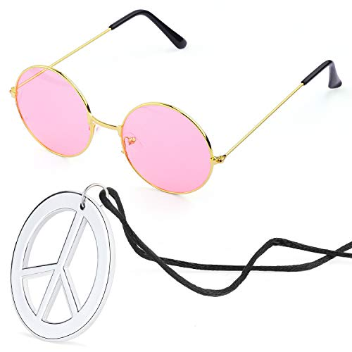 Beelittle Hippie Kostümzubehör für Herren und Damen - Retro Hippie 60er Jahre Kreis Brille Friedenszeichen Halskette (Rosa)