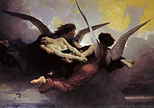 $50-$4000 Hand Painted Art Paintings by College Teachers - William Adolphe Bouguereau Soul Carried to Heaven Oil Painting Reproduction - Wall Decor Canvas Old Famous Works -Size09