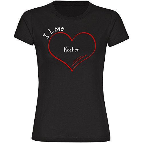 T-Shirt cuello redondo camiseta de manga corta para mujer hervidor I Love modern tallas de la S a 2XL Negro negro Talla:xx-large