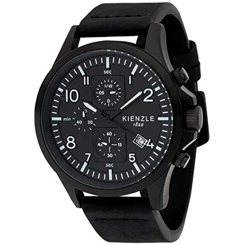 KIENZLE 1822 Herren Pilot Chronograph Quarz Datum Lederband schwarz-schwarz DW-00151