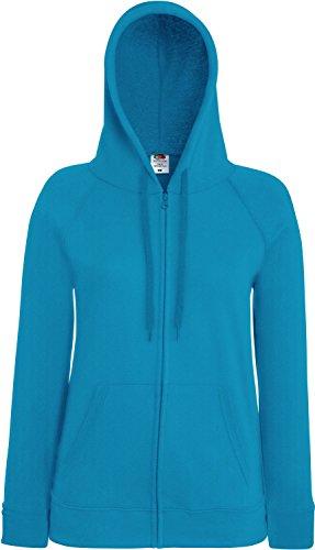 Fruit of the Loom Lady-Fit Lightweight Hooded Sweat Jacket 62-150-0 XL,Azure Blue