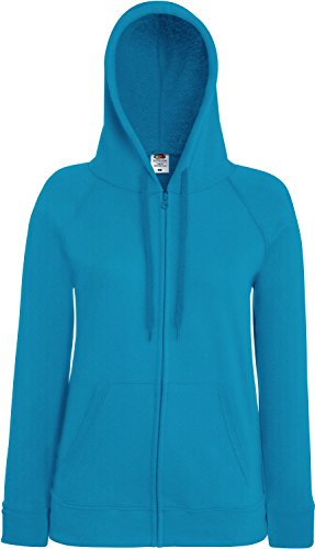 Fruit of the Loom Lady-Fit Lightweight Hooded Sweat Jacket 62-150-0 L,Azure Blue