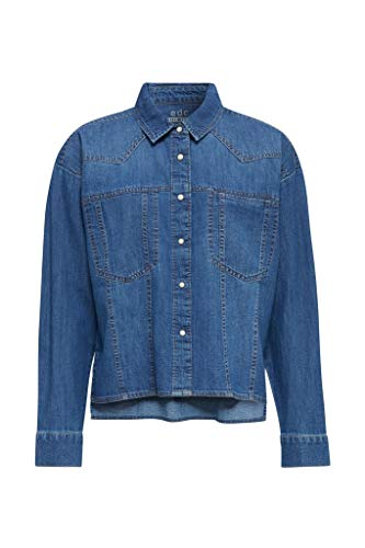 edc by ESPRIT Jeansbluse im Boxy-Style, 100% Baumwolle