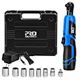 3/8' Cordless Ratchet Wrench Set, PROSTORMER 12V Electric Ratchet Tool Kit with 2000mAh Lithium-Ion Battery and Charger, 7-Piece Sockets and 1-Piece 1/4' Socket Adapter